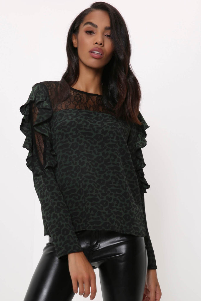 Green Lace Neck Top