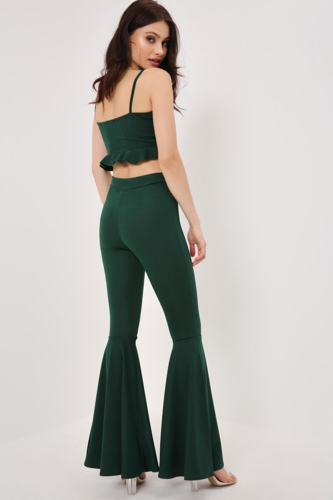 Green Crepe Frill Crop Top