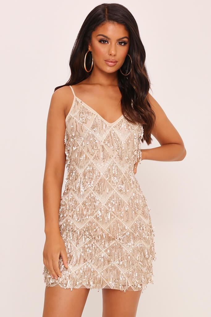 Rose Gold Cami Sequin Tassel Dress