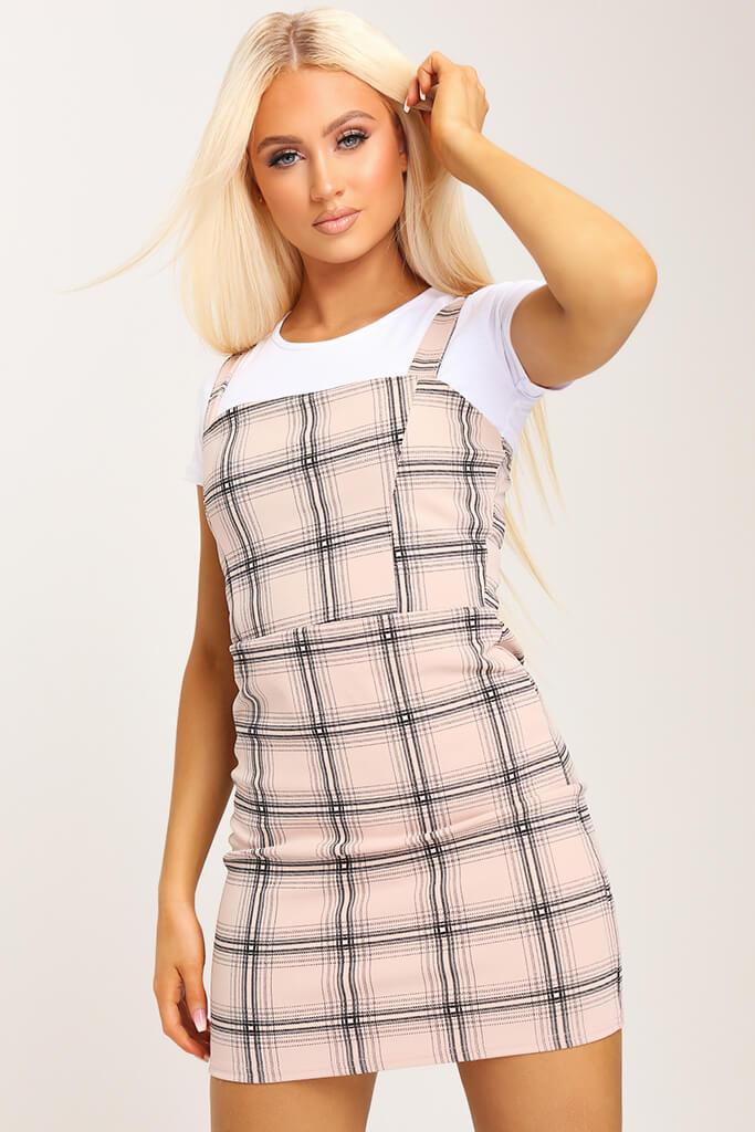 Camel Crepe Check Pinafore Dress view 2