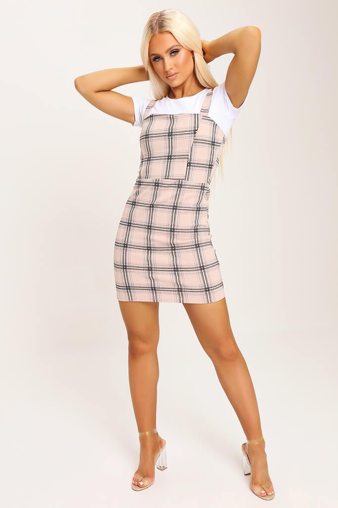 Camel Crepe Check Pinafore Dress view 3