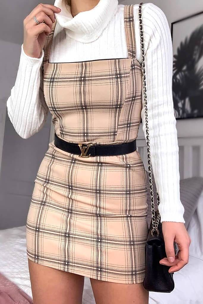 Camel Crepe Check Pinafore Dress