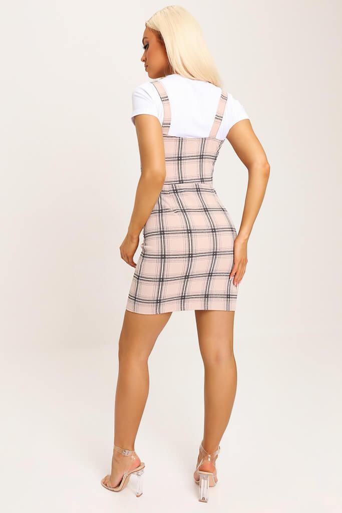 Camel Crepe Check Pinafore Dress view 5