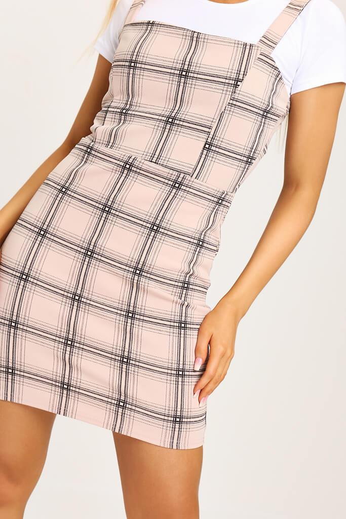 Camel Crepe Check Pinafore Dress view 4
