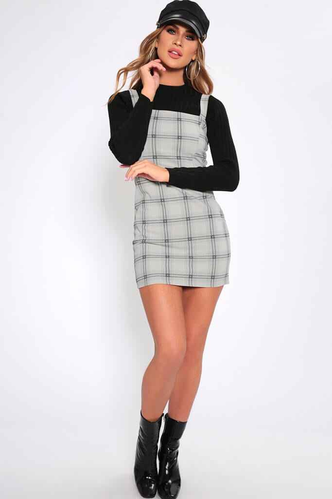 new product best timeless design Grey check pinafore