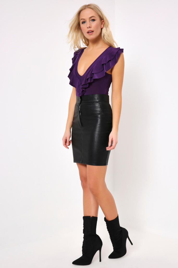 Purple V Neck Ruffle Bodysuit