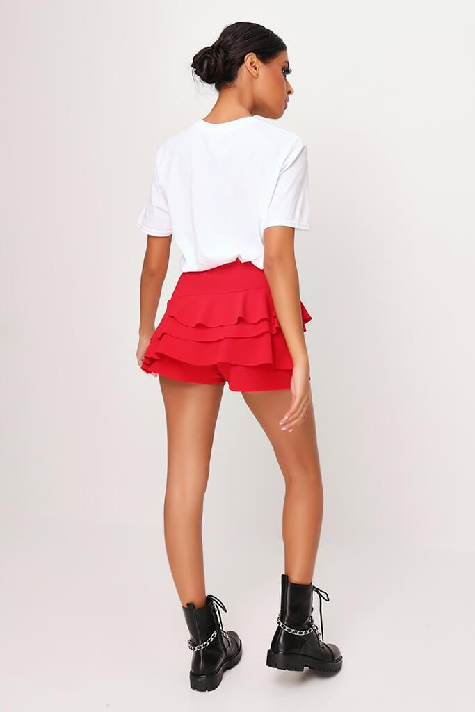 Red Ruffle Shorts view 5