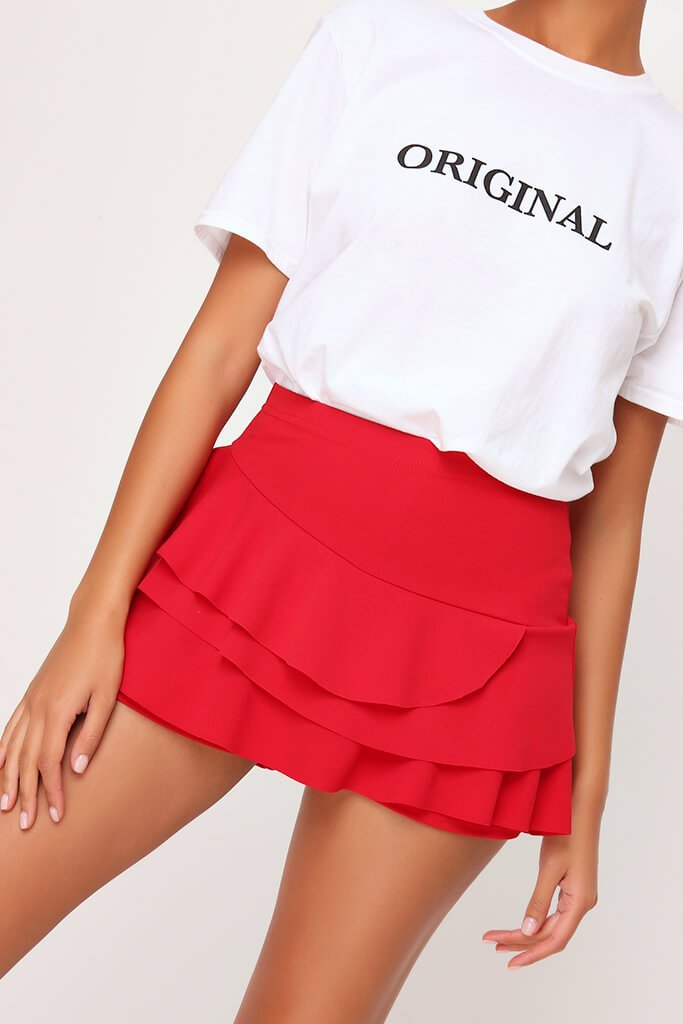 Red Ruffle Shorts view 4