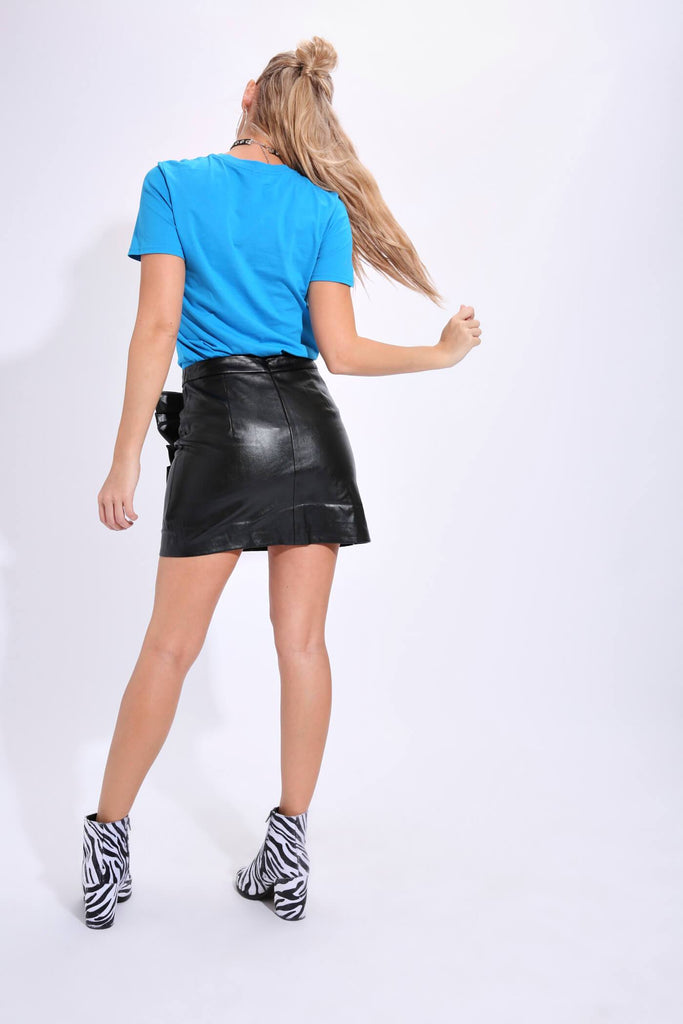 Black Pu Side Ruffle Skirt