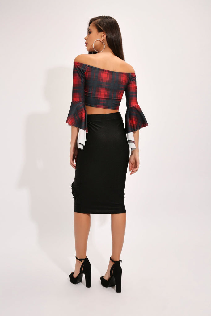 Black Nylon Frill Pencil Skirt