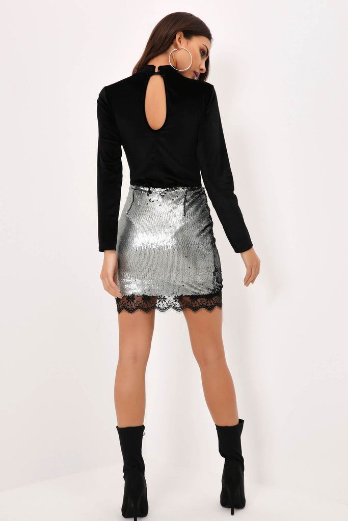 Silver Full Sequin Mini Skirt With Lace Detail