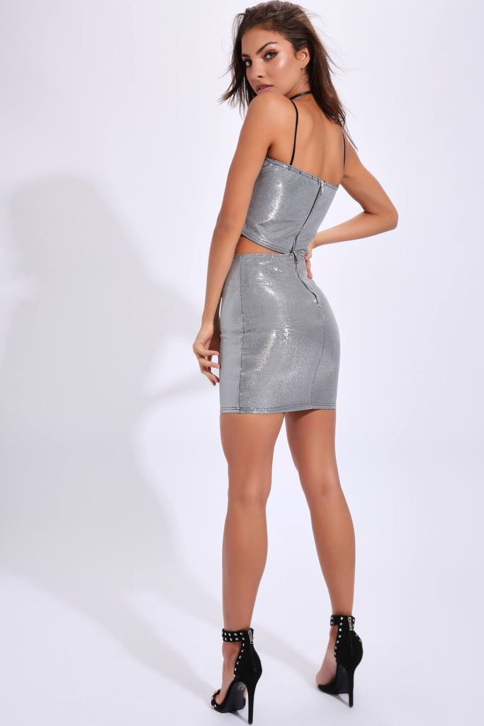 Silver Metallic Mini Skirt