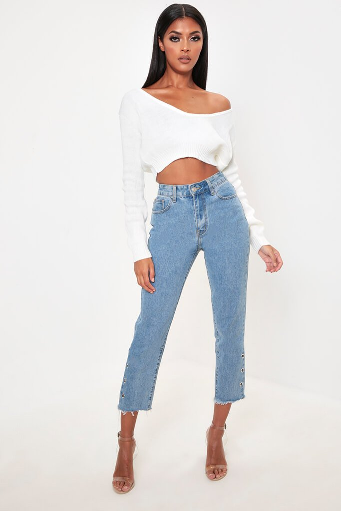 Cream V-Neck Cropped Jumper view 2