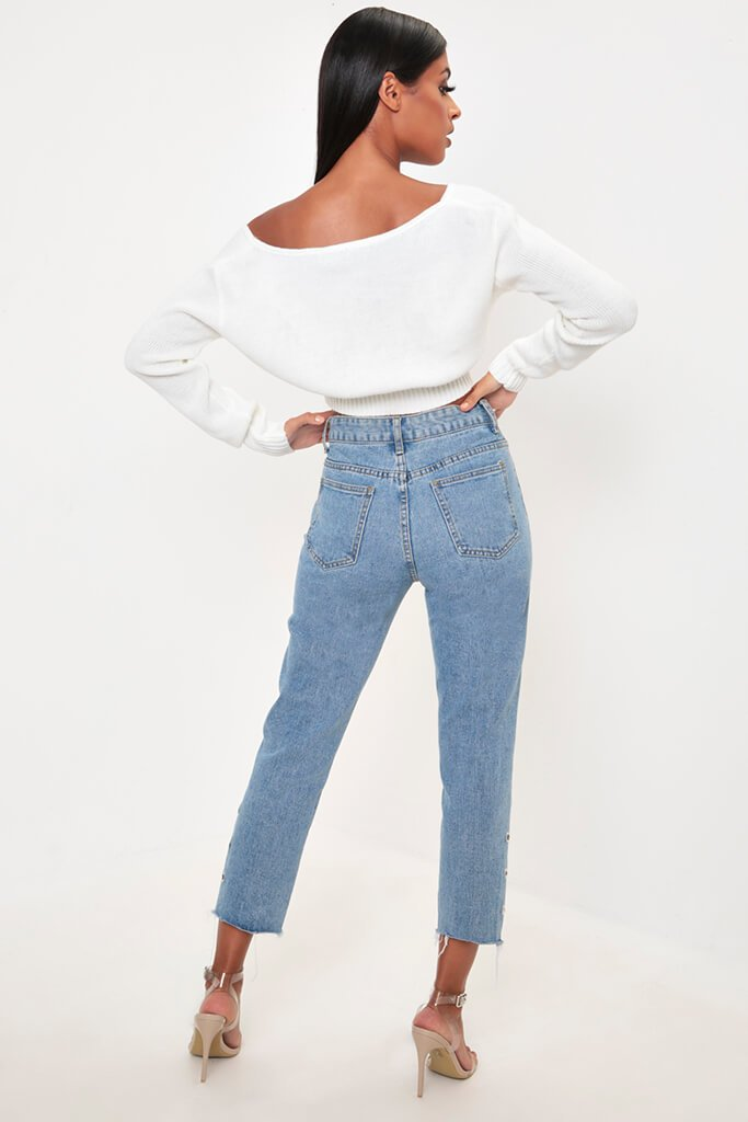 Cream V-Neck Cropped Jumper view 5