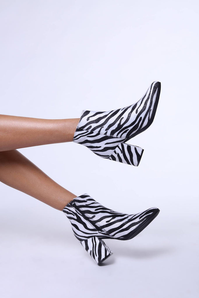 Black/White Zebra Ankle Boot With Square Heels