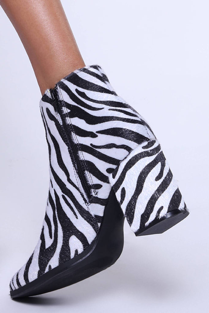Black/White Zebra Ankle Boot With Square Heels view 4