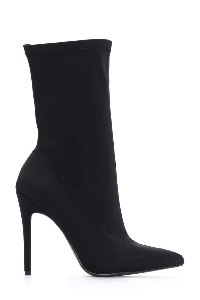 Black High Heel Lycra Sock Boots view 4