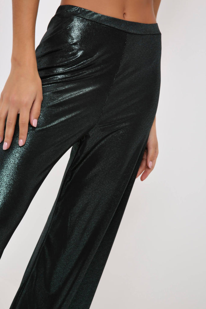 Green/Black Metallic Wide Leg Trousers