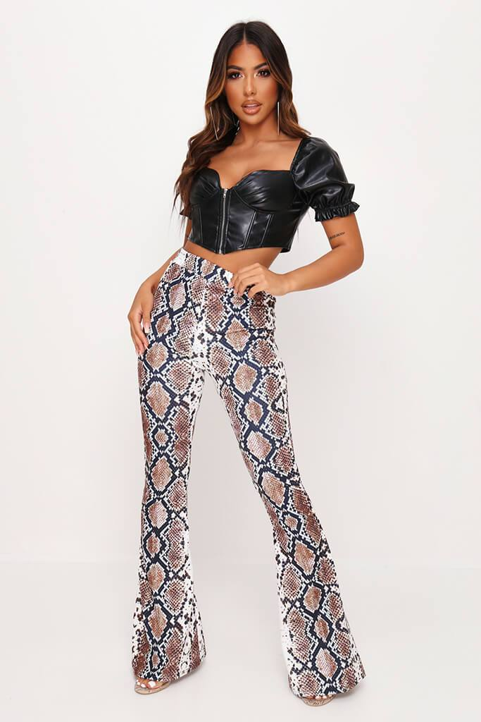 Snake Print Flare Trousers view main view