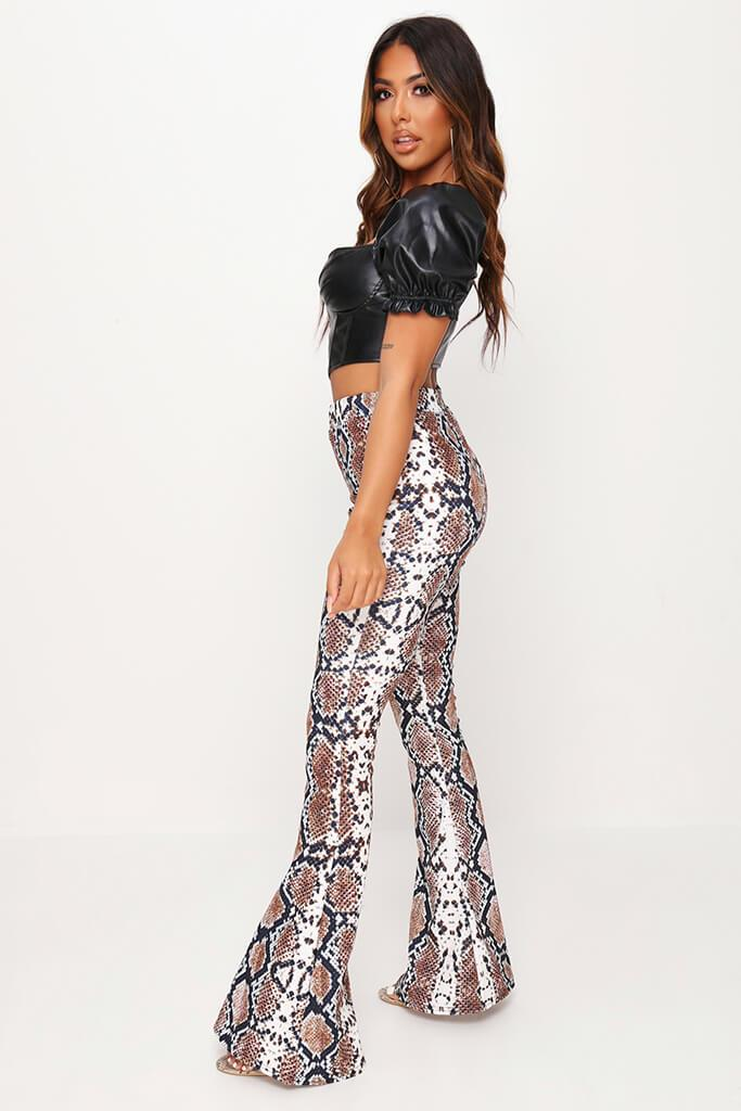 Snake Print Flare Trousers view 3