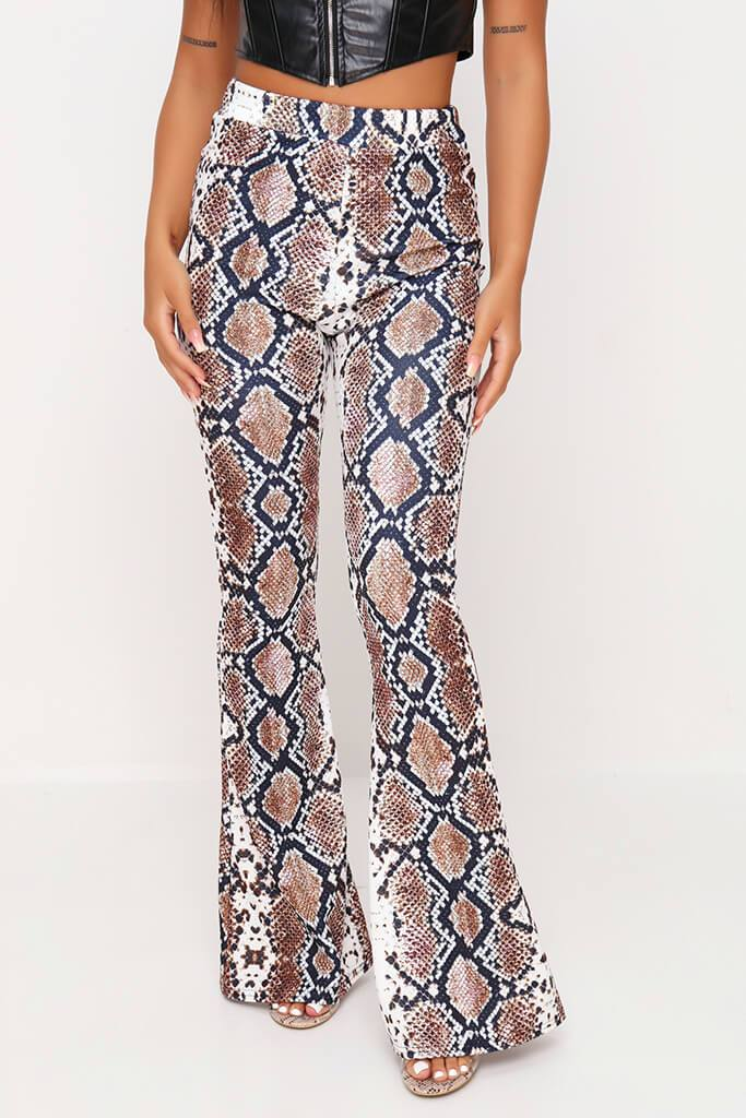 Snake Print Flare Trousers view 2