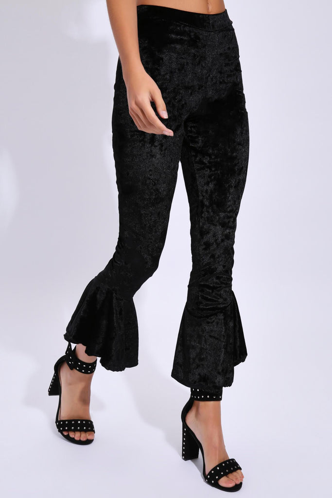 Black Fitted Crushed Velvet Trouser With Frill Hems