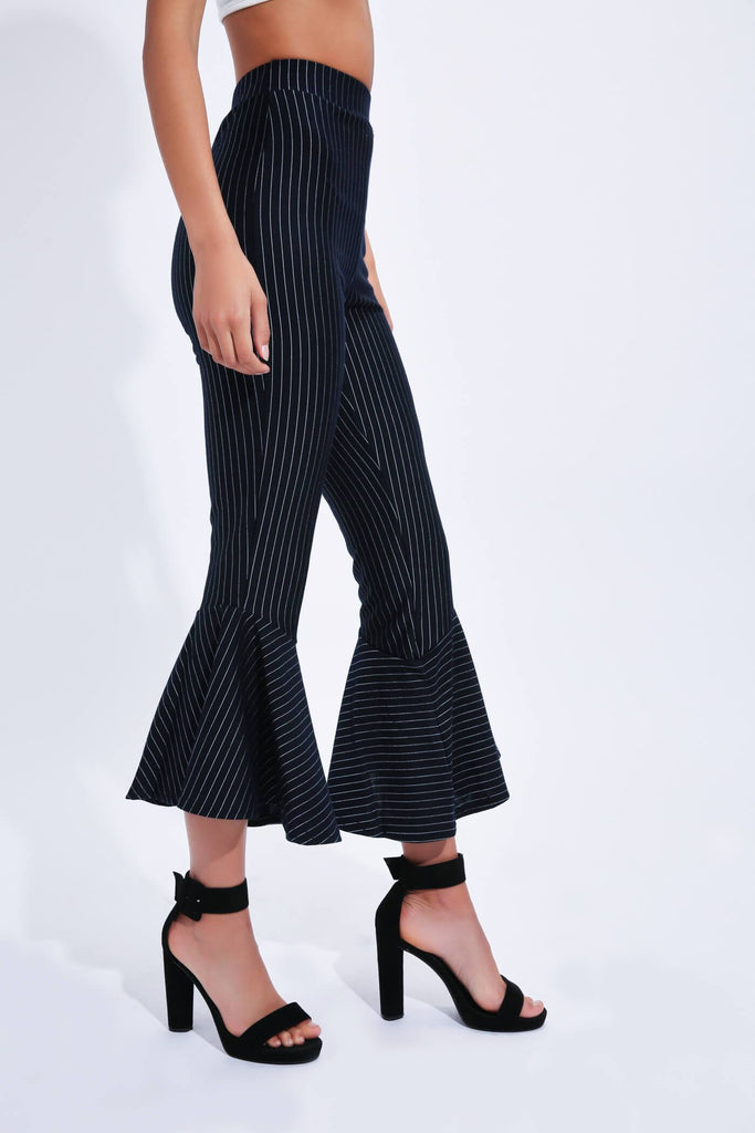 Navy Striped Flare Trousers