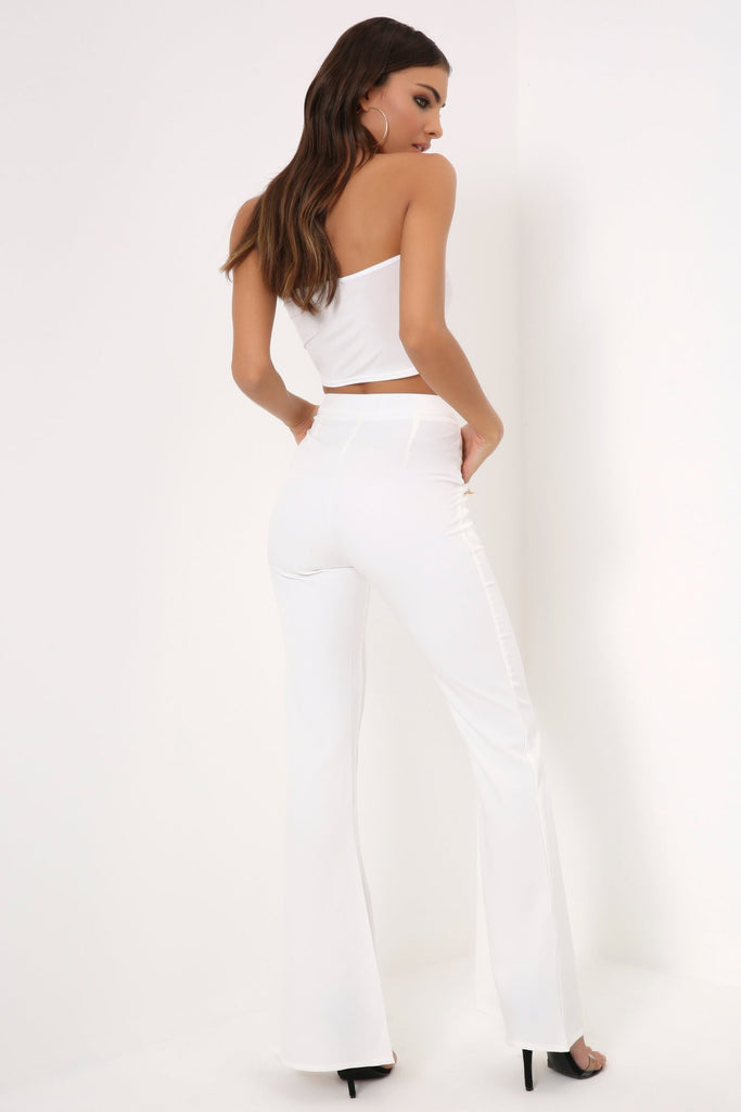White Gold Military Button Flared Trousers