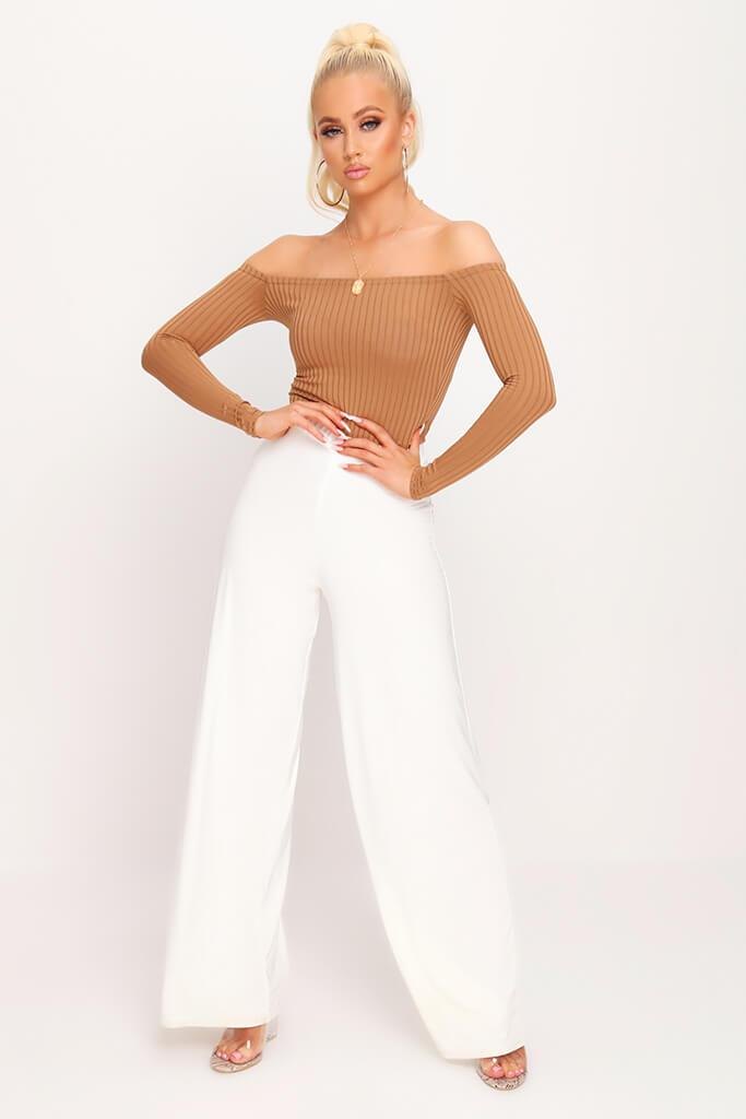 Camel Bardot Ribbed Long Sleeve Bodysuit view 3