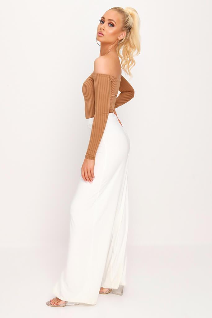 Camel Bardot Ribbed Long Sleeve Bodysuit view 5