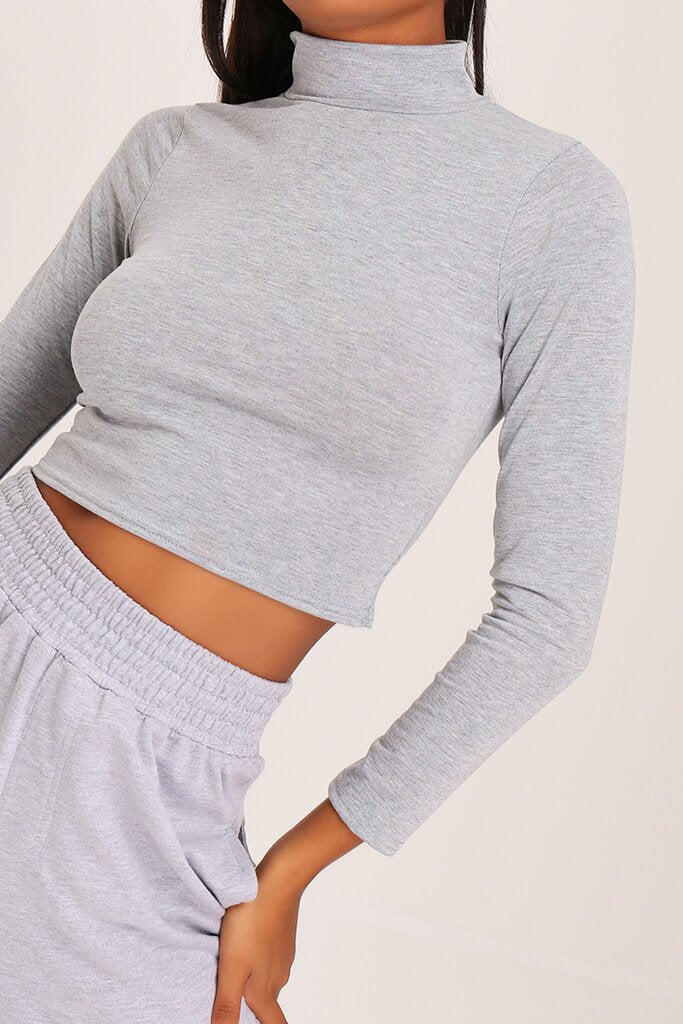 Grey Basic High Neck Crop Top view 4