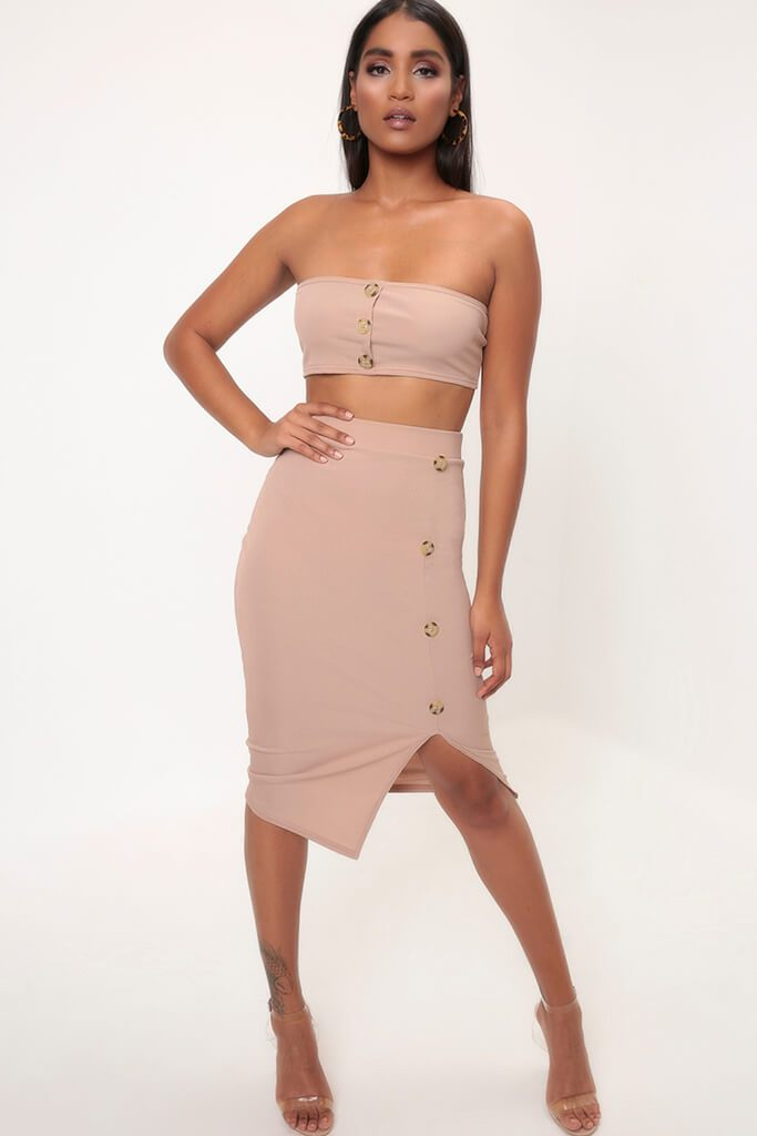 Camel Button Front Ribbed Bandeau Top