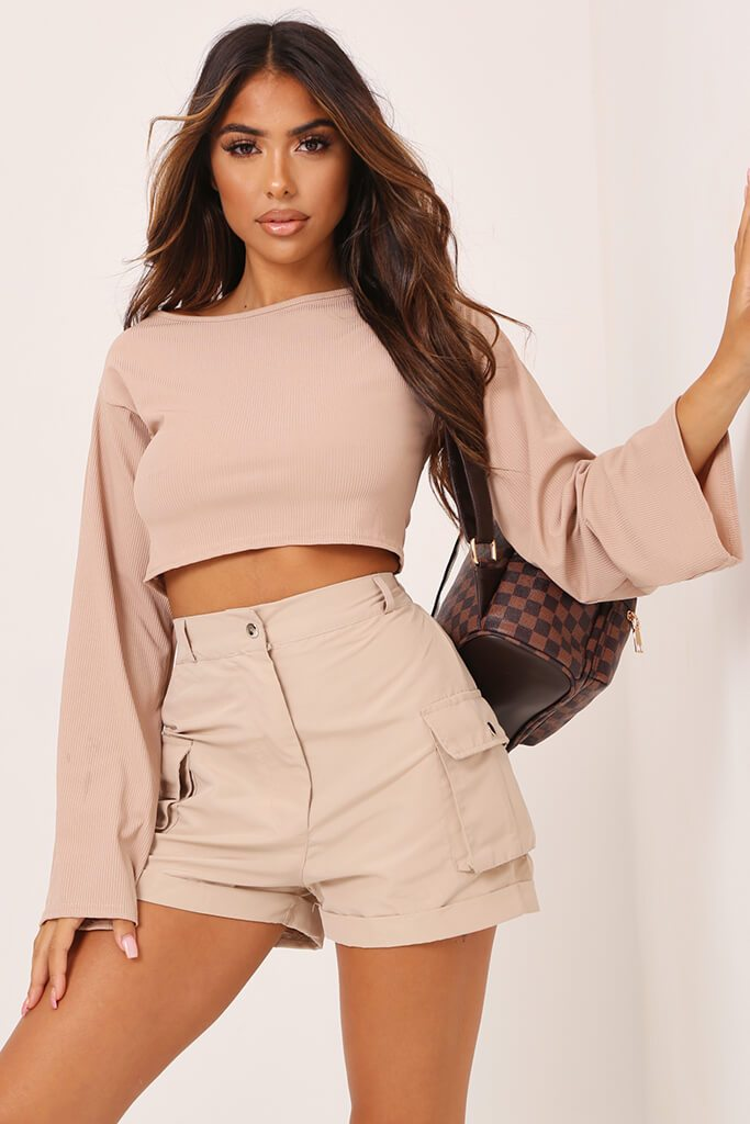 Stone Basic Long Sleeve Ribbed Crop Top