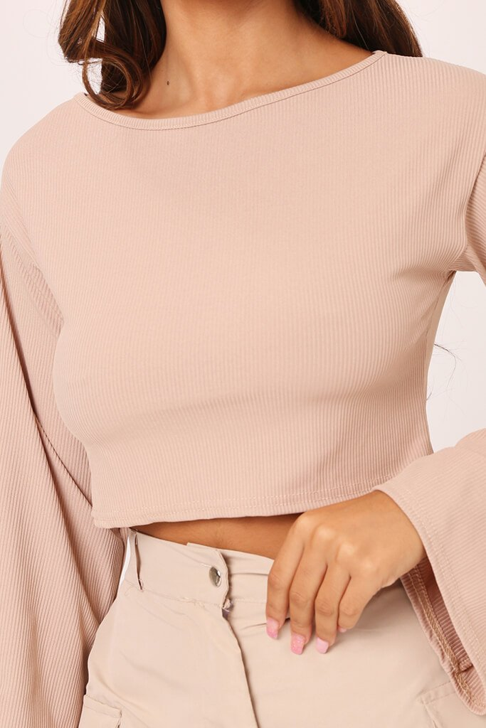 Stone Basic Long Sleeve Ribbed Crop Top view 4
