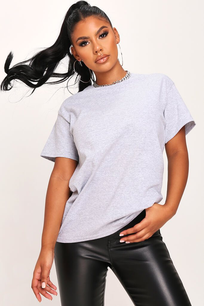 Sports Grey Basic Oversized T-Shirt view 2