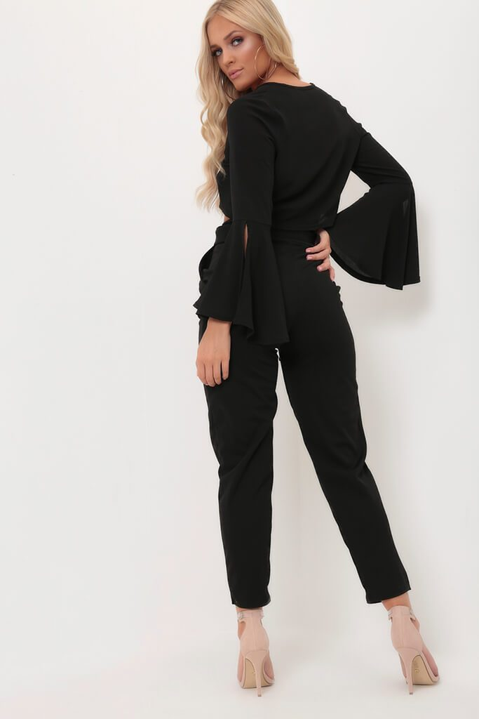 Black Tie Front Long Sleeve Top view 5