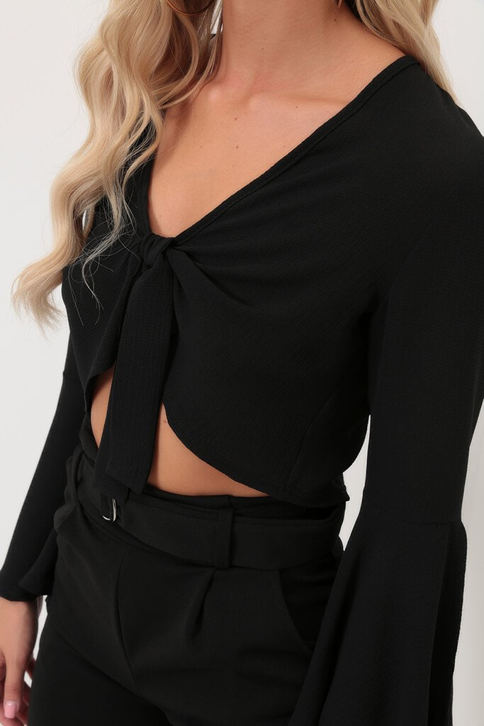 Black Tie Front Long Sleeve Top view 4