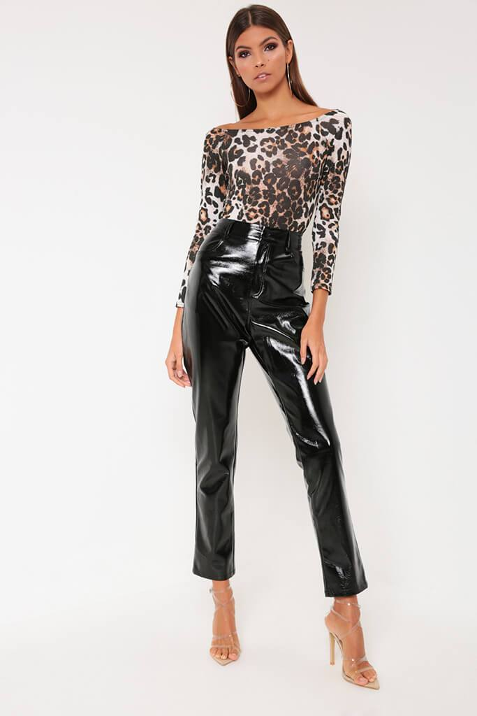 Brown Leopard Print Bardot Long Sleeve Bodysuit view 2
