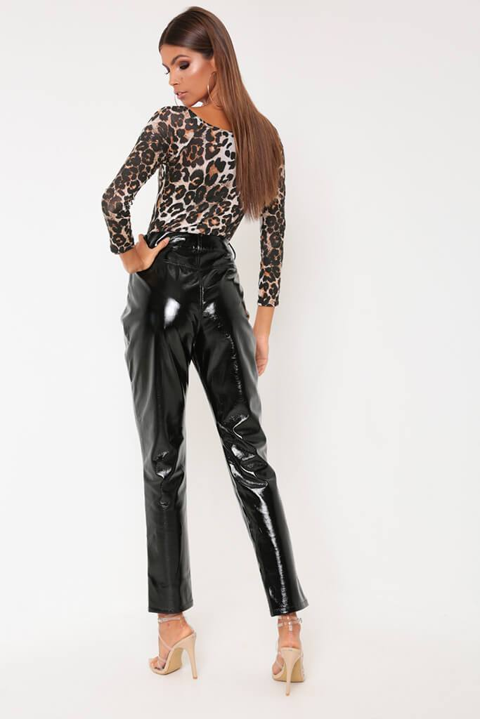 Brown Leopard Print Bardot Long Sleeve Bodysuit view 5