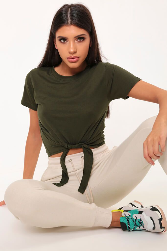 Khaki Tie Front Basic T-Shirt view main view