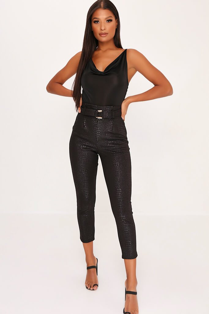 Black Slinky Cowl Neck Bodysuit