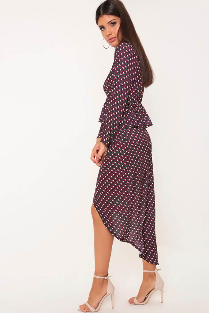 Black/White Geo Print Tie Wrap Midi Skirt view 3