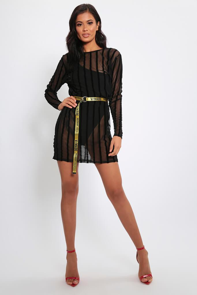 Black Stripe Flock Mesh Oversized T-Shirt Dress view 2
