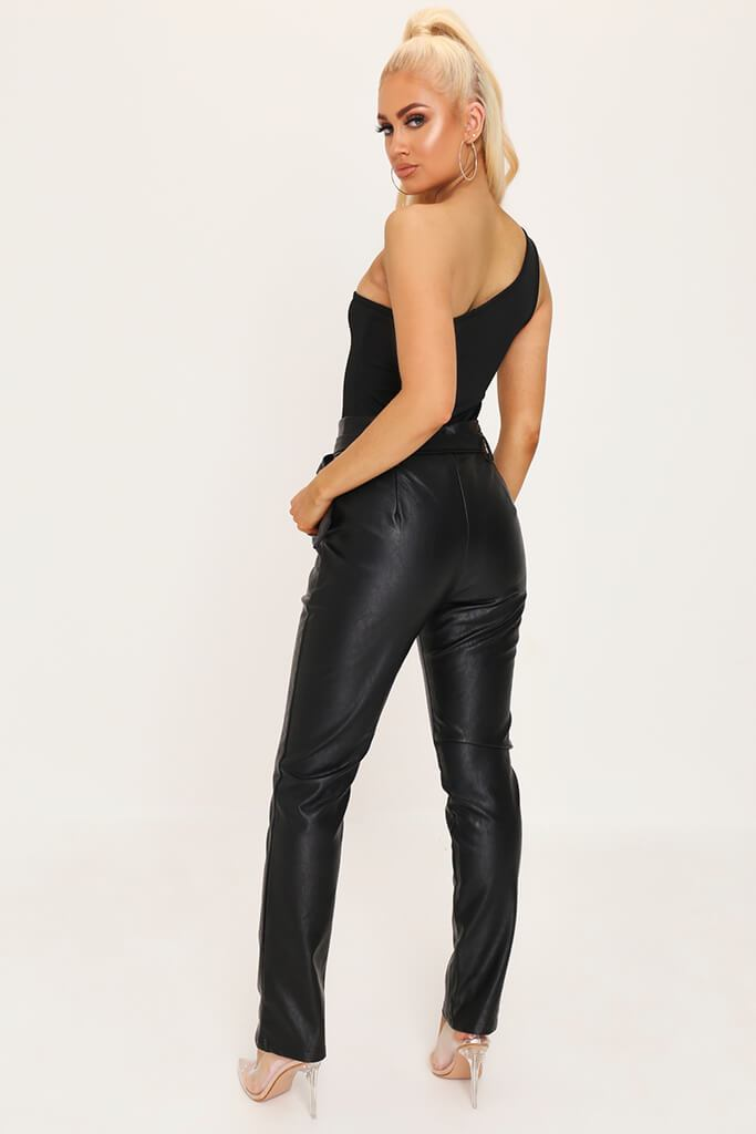 Black One Shoulder Bodysuit view 5