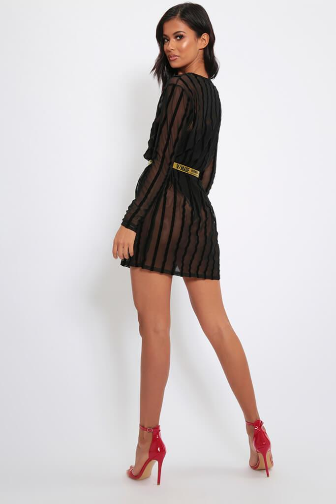 Black Stripe Flock Mesh Oversized T-Shirt Dress view 5