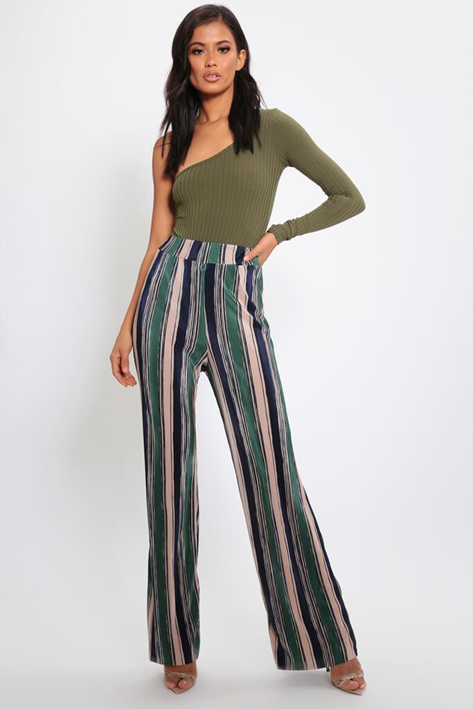 Green Stripe Pleated Wide Leg Trousers view main view