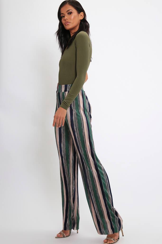 Green Stripe Pleated Wide Leg Trousers view 3