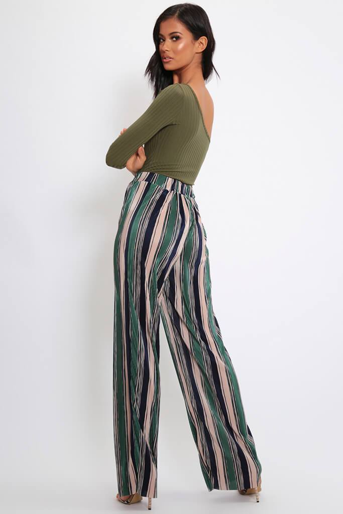 Green Stripe Pleated Wide Leg Trousers view 5
