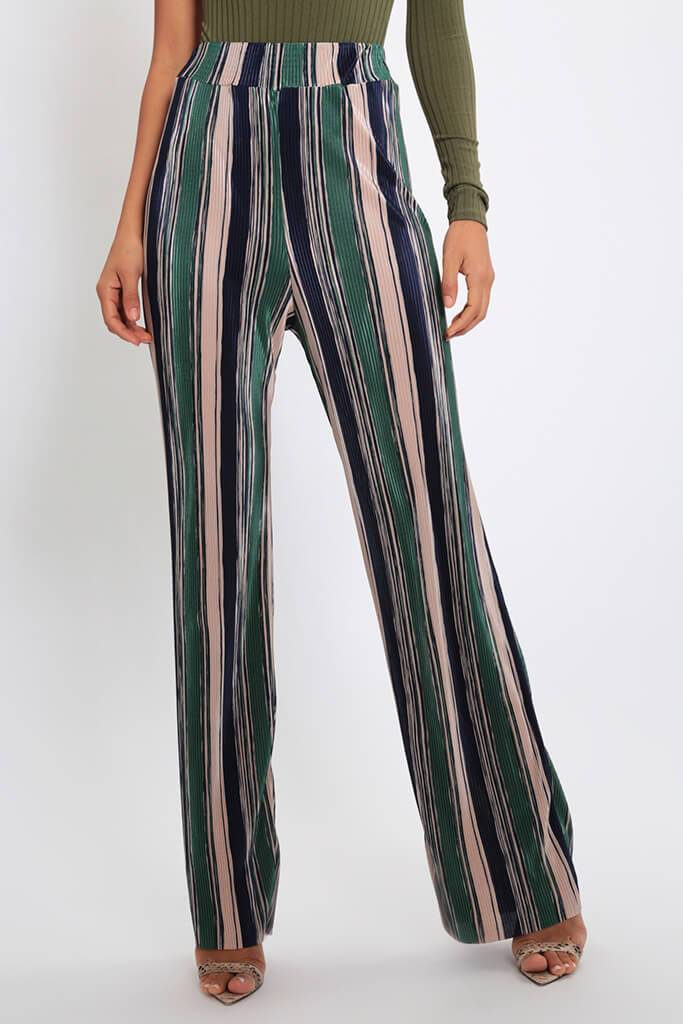 Green Stripe Pleated Wide Leg Trousers view 2