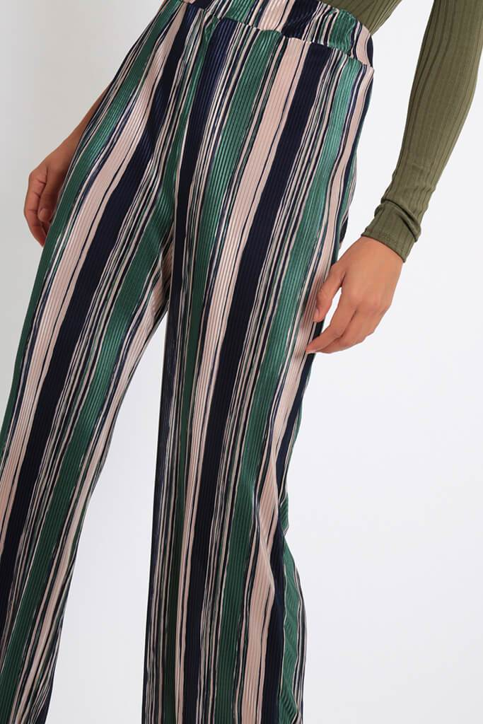 Green Stripe Pleated Wide Leg Trousers view 4